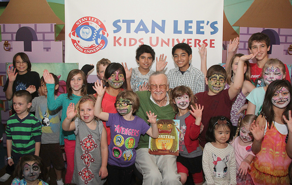 Stan Lee and the children at the launch of Stan Lee's Kids Universe.