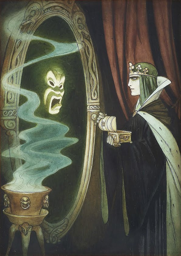 Concept art by Kay Nielsen for the Evil Squeen, Snow White and the Seven Dwarves