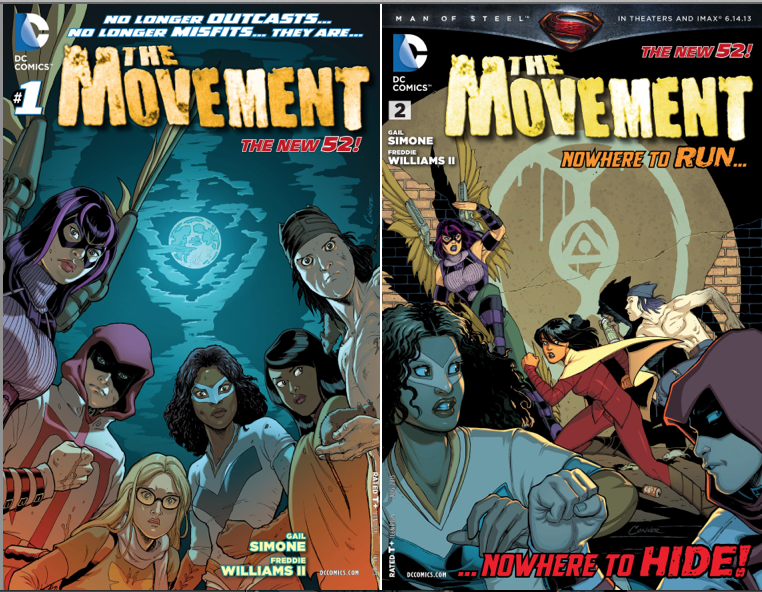 "Covers for Issues 1 &2 for ""The Movement,"" written by Gail Simone and illustrated by Freddie William II."