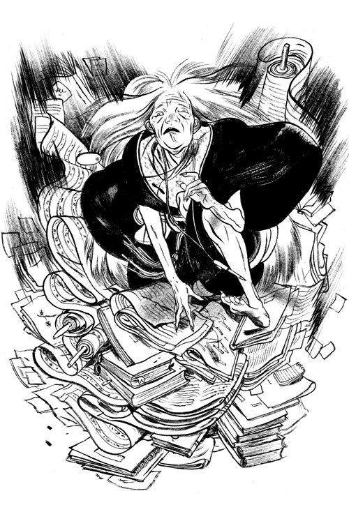 Illustration by Jillian Tamaki, one of the characters Melanie encounters in Half World