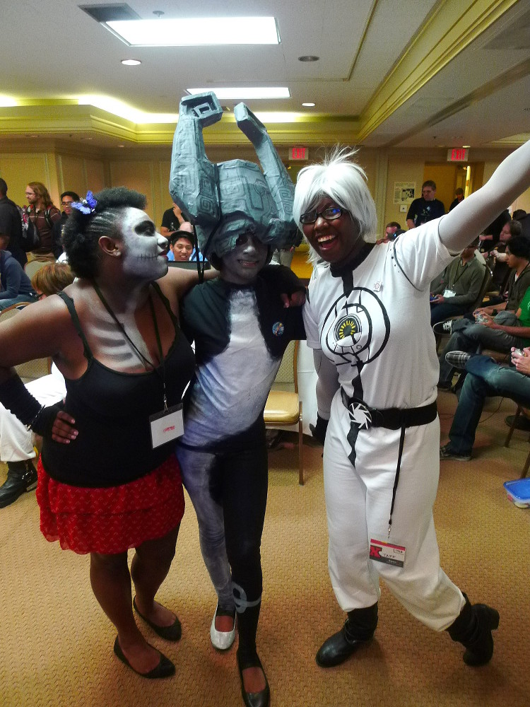 Mia as Betty, a character she invented; Angela as Midna from Zelda: Twilight Princess; Tiffany as Space Core from Portal
