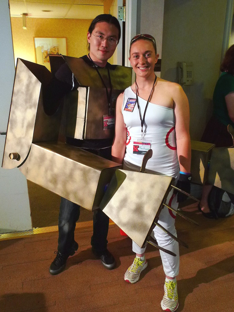Frank and Katherine as Bunker and Tachyon from Sentinels of the Multiverse