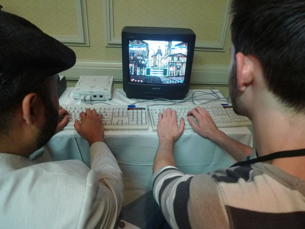 Rick and Kit playing The Typing of the Dead