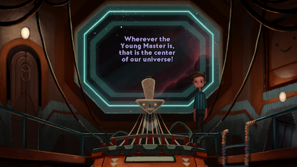 The transporter shrinks his head, everything else makes it bigger