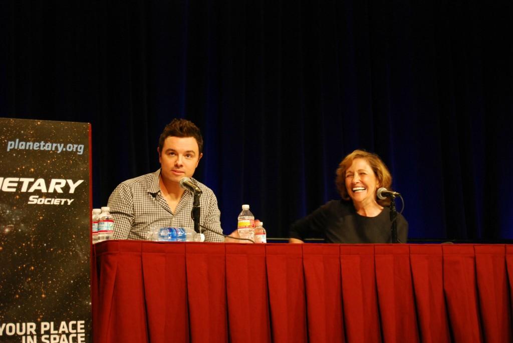 MacFarlane and Druyan at Planetfest 2012 (photo via Reddit)